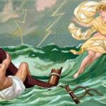 186. Одиссей покидает остров нимфы Калипсо