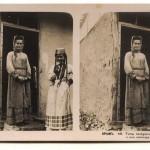 Типы татарок в д. Скеля и их жилище. Стереопара. Крым. 1910 год.