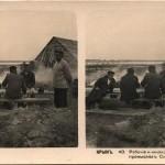Рабочие и жилища их на солевых промыслах Сиваша. Стереопара. Крым. 1910 год.