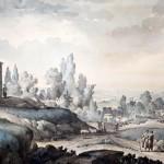 Джакомо Кваренги (1744-1817). Вид вблизи Судака. Перо, тушь, акварель.