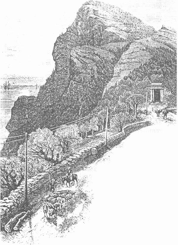 Байдарские ворота и дорога. Гравюра 1892 г