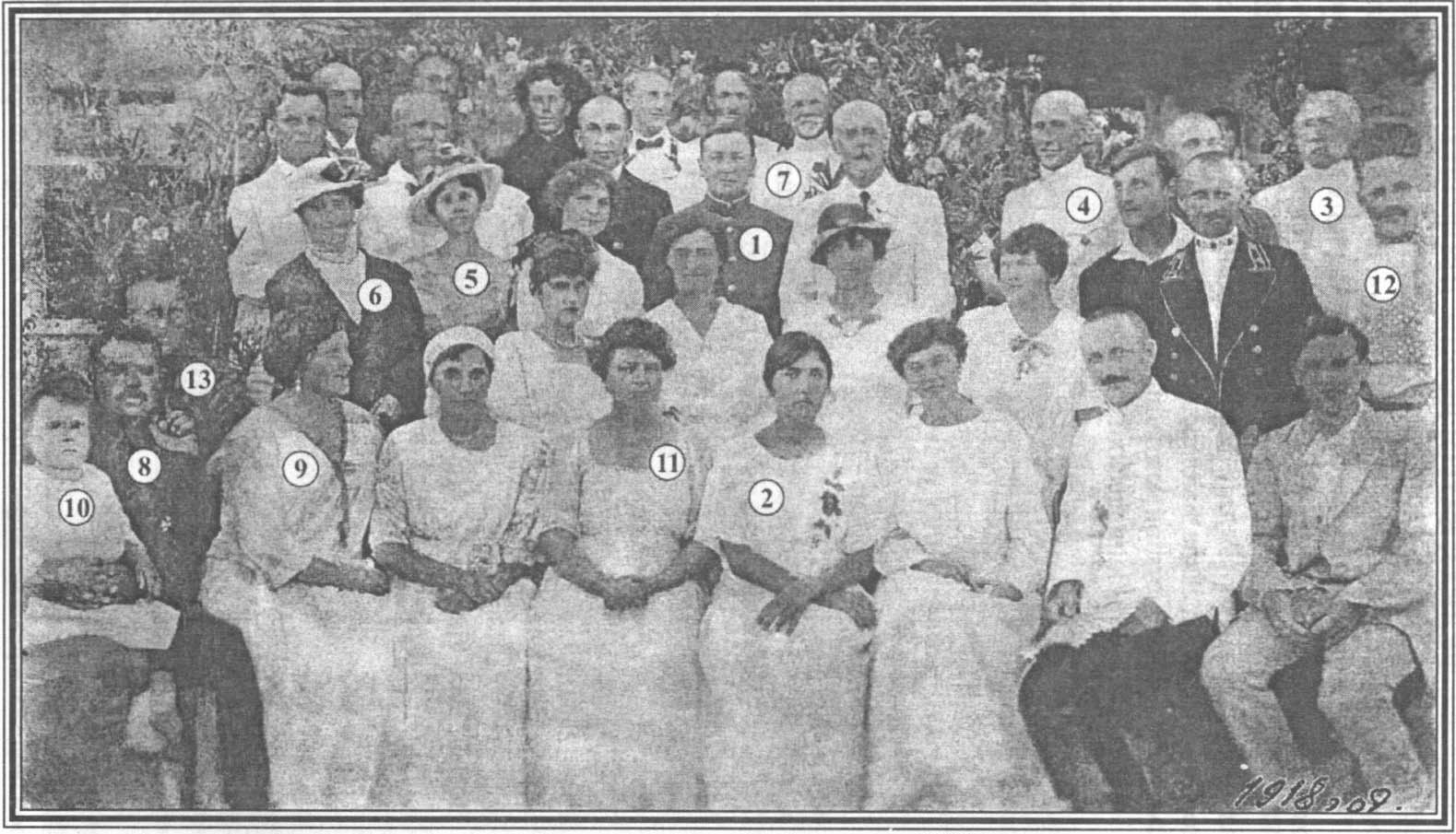 Весь «свет общества» в имении «Комперия» на именинах смотрителя маяка. 1918 г.