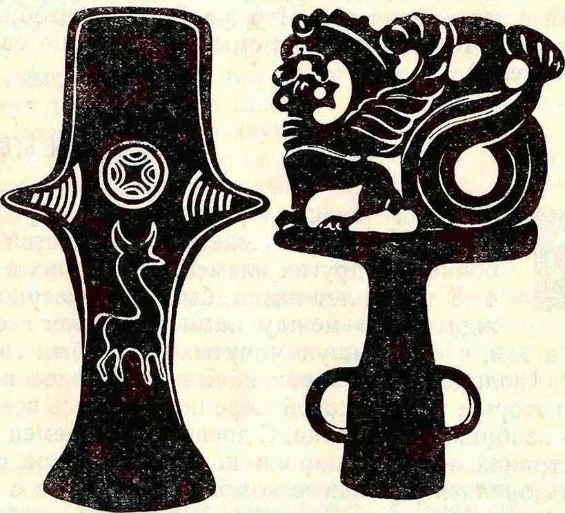 Рис. 7. Культовый бронзовый топорик из окрестностей г. Керчи и скифское навершие жезла, найденное в Присивашье.