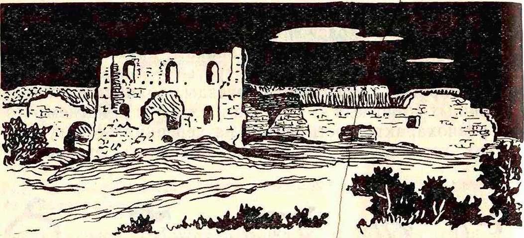 Мангуп. Развалины цитадели (здесь, на плато, найдены средневековые черепицы с клеймами).