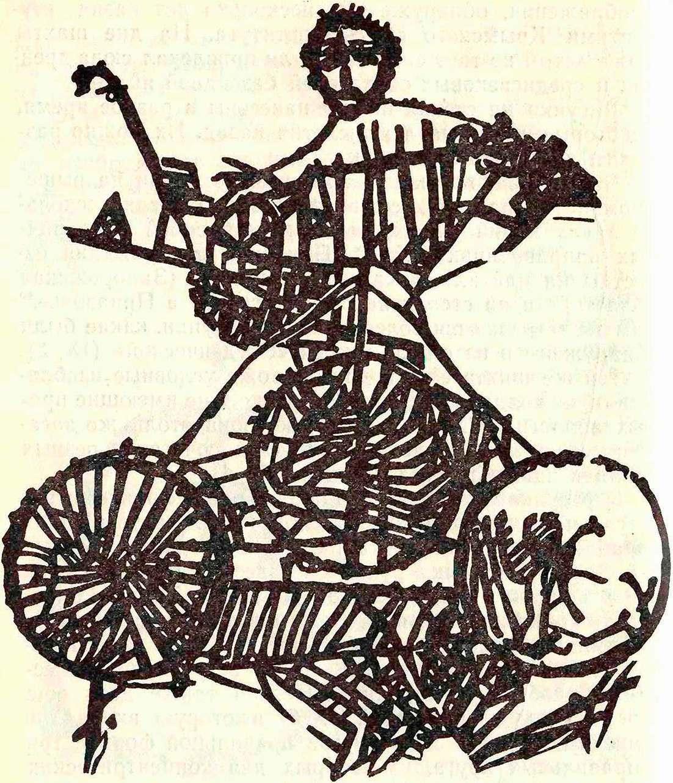 Изображение колесницы в шахте «Студенческой»
