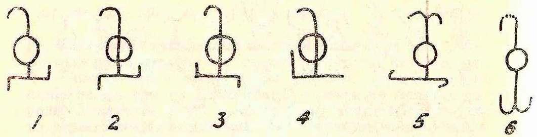 Варианты знака Фофорса (1—4) и близких по начертанию сарматских знаков (5—6).