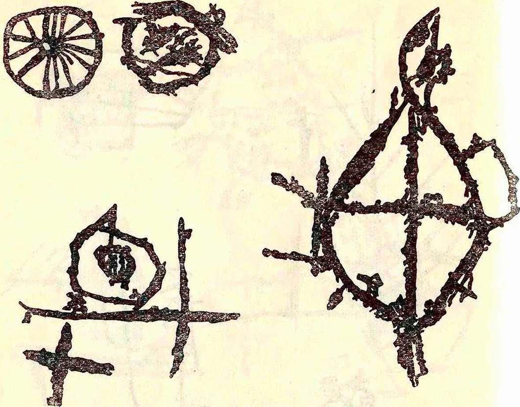 Изображения солнца, крестов и «колес».