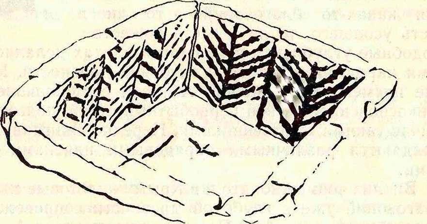 Рис. 4. Роспись погребального каменного ящика из с. Долинка Красноперекопского района.