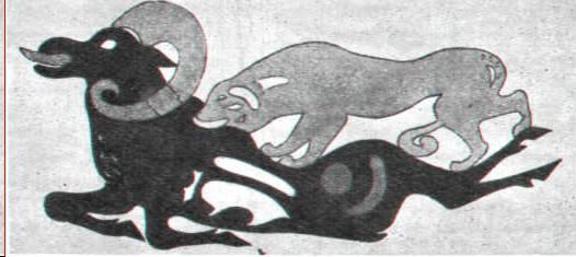 Тигр, напавший на горного баран. Аппликации из цветного войлока.