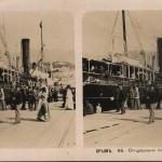Отправление парохода из Ялты. Стереопара. Крым. 1910 год.