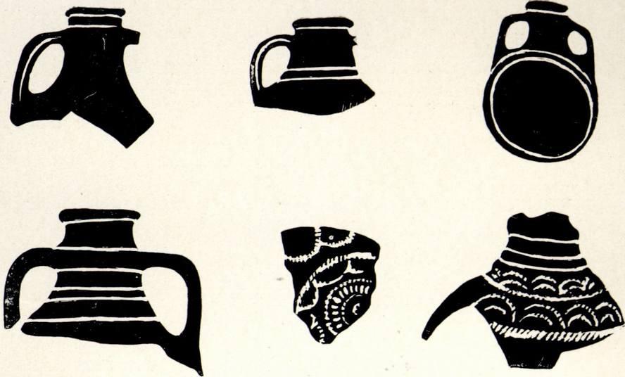 Фрагменты средневековых амфор и фляга из Чобан-Куле